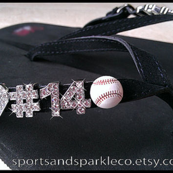 Personalized Rhinestone Flip Flops with Sports Ball Charm - Baseball, Softball, Football, Basketball, Soccer, Volleyball, Cheerleading