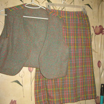 vintag mod colorful 60s womens plaid skirt with reversible SHORTY vest