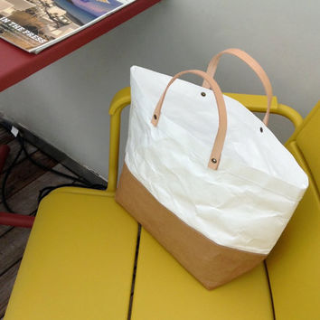 Tote Bag Large : Tyvek and Kraft paper bag