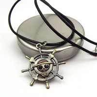 Vintage Anime One Piece Luffy Skull Pendant Necklace Hot Rope Chain Necklace Pendant