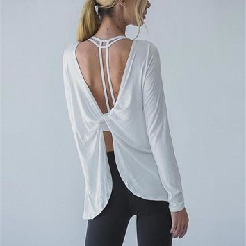 Lightweight Twisted Open Back Long Sleeve Drape Yoga Top