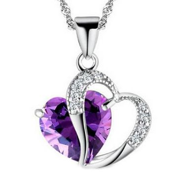 Peach Heart-shaped Purple Stone Crystal Necklace for Women