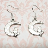 Cat on the Moon Earrings, dangle, kitty kitten cat lover cat lady