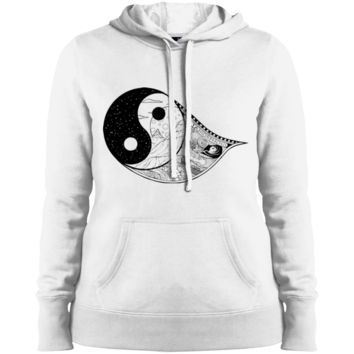 Gothic Yin-Yang, Sky, Mountains And Parchment Ladies' Pullover Hooded Sweatshirt