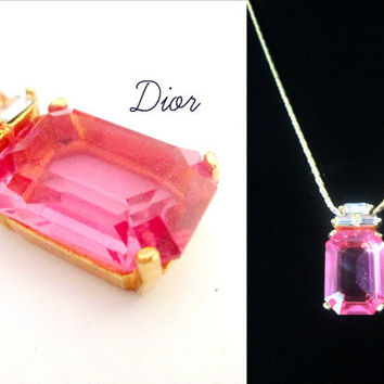 Christian Dior Pink Emerald Cut Necklace With Baguettes Designer Statement Jewelry
