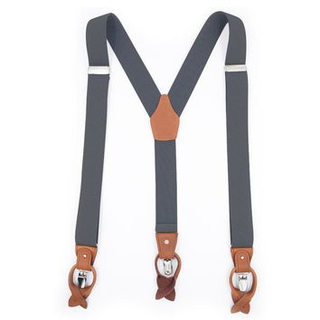 Classic Leather Suspenders-Grey