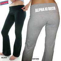 Soffe Sorority Yoga Pants | Sorority Printed clothing, pants and apparel from SomethingGreek.com