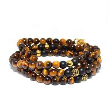 Tiger Eye and Gold Cubic Zirconia Gemstone Necklace
