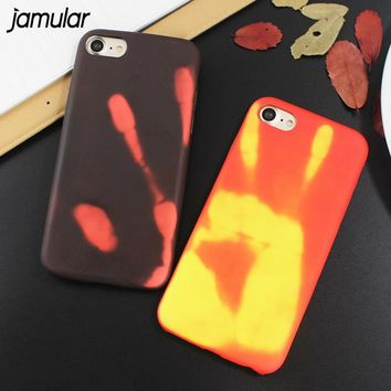 JAMULAR Color Changing Thermal induction Phone Case for iPhone 7 8 6 6s Plus Cover TPU Cover For iphone 6 6s 8 Plus Coque Skin