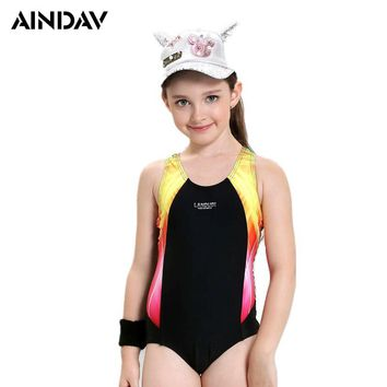 Junior Girls Swimsuit One Piece Swimsuit Teenager Sport Suit Kids Swimwear One Piece Bathing Suit Children Swimming Clothes