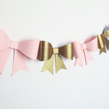 Handcrafted- Bow Garland- Pink and Gold