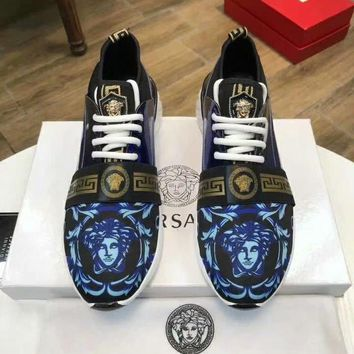 Versace Women Men Fashion Sneakers Sport Shoes Blue