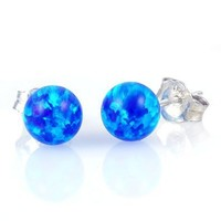 Oceans: 4mm Tropical Blue Created Opal Ball Stud Post Earrings, Solid 925 Sterling Silver