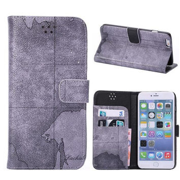 Gray World Map Leather iPhone creative cases for 5S 6 6S Plus Free Shipping