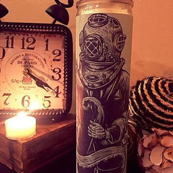 Octopus, Nautical Vintage Art, Deep Sea Diver, Prayer Candle, Good Vibes Only, Gift Idea, Goth, Nautical Decor Ideas, Best Scented Candles