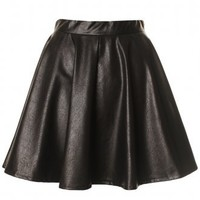 Black Leather Look Side Zip Skater Skirt -  from Lavish Alice UK