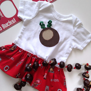 Buckeye Applique Dress, Skirted Ohio State Onesuit, Buckeye Baby Dress, Ohio State Baby