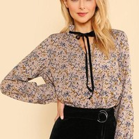 Floral Blouse Frilled Collar