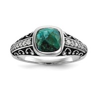 Sterling Silver Oxidized Turquoise & CZ Ring