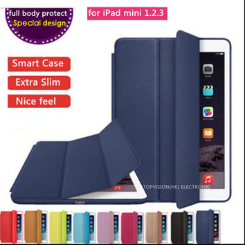 full body protect special design logo thin flip slim magnetic leather case smart cover for apple ipad mini 1 2 3 case cover