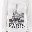 FOREVER 21 Soft Knit Paris Sweatshirt Cream/Black