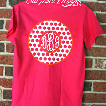 YOUTH Short Sleeve Monogram Polka Dot T Shirt Personalized Custom You choose colors!