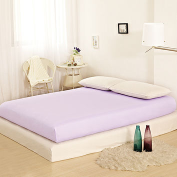 100% Cotton Satin Home Bed Sheet Romantic Light Purple Fitted Sheet Double Single Bed Sheets Queen King Size Deep 25cm Free Ship