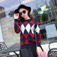 Geometry Knitted Long Sleeve Pullover Sweater