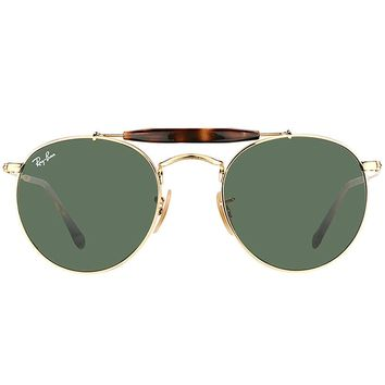 NWT Ray-Ban RB 3747 001 Arista Gold Tone Metal Round Green 50mm Lens Sunglasses