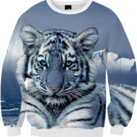White Tiger Fall Sweatshirt created by ErikaKaisersot | Print All Over Me