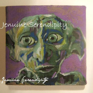 3x3 inch miniature acrylic canvas Dobby  ( Harry Potter ) painting