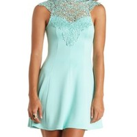 Crochet Lace Mock Neck Skater Dress by Charlotte Russe - Mint