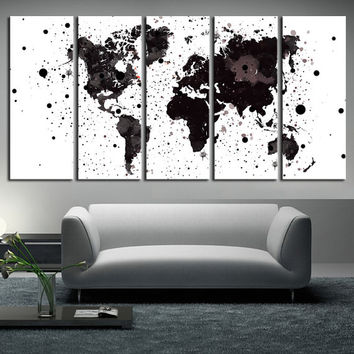 large World Map Canvas wall art, Large wall Art, watercolor World Map canvas print 5 panels, watercolor wall art print, extra large art