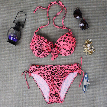 Womens Pink Leopard Bikini Swimsuits
