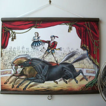 "Canvas Vintage Pull Down Style School Chart with Oak Wood Trim - Two Horse Circus Act (24"" x 18"")"