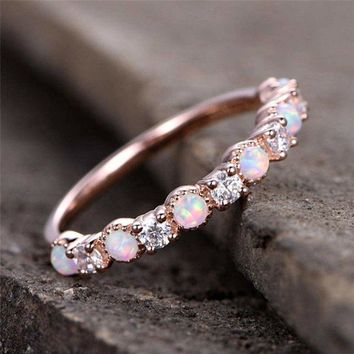 Opal Rings Women Wedding Fire Stone Finger Ring Eternity Band Engagement Jewelry