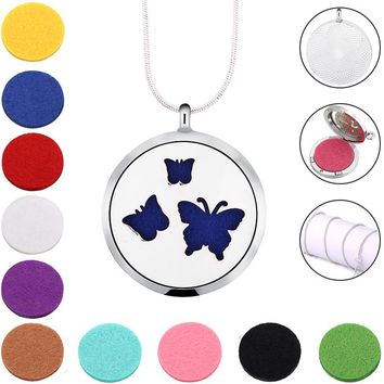 Beauty Butterfly Locket pendant 316L Stainless Steel Aromatherapy Essential Oil Diffuser Necklace For Gifts