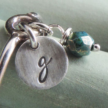 Initial Ring, Silver Charm Ring, Sterling Silver Ring, Dangle Ring