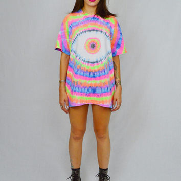Eye Ball Tie Dye Shirt Psychedelic Neon Trippy LARGE Third Eye Men Women Unisex Rainbow Rave Oversize tee Funky Handmade Tie Dye Clothing