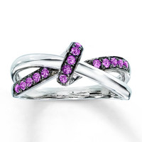 Lab-Created Pink Sapphire Ring Round-cut Sterling Silver