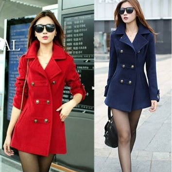 Women's/Ladies Slim Double-breasted Wool Blend Trench Coat Jacket red blue coats = 1930510340