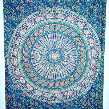 Indian Mandala Tapestry, Hippie Dorm Decor, Bohemian mandala Tapestry, elephant mandala tapestry, mandala Bed Cover, indian Wall Hanging
