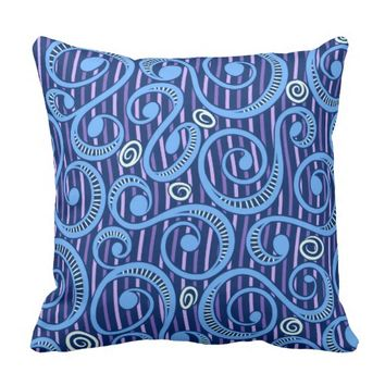 Denim Tossing Blue Vines Throw Pillow
