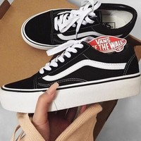 """Vans"" With Warm Casual Shoes Men and women classic black cloth shoes"