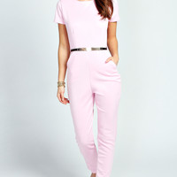 Leigh Capped Sleeve Belted Scuba Jumpsuit