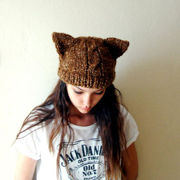 Hand Knitted Brown Kitty Cat Ears Beanie Cable knit ,Knitted Cat Ear Hat,Chunky Hat
