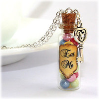 Alice In Wonderland Eat Me Glass Bottle Necklace with a Key Pendant Charm