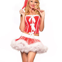 Red Santa Corset and Mini Skirt