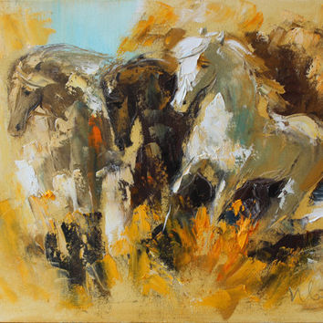 Horse Original oil painting on canvas Impasto Palette knife Wall art Fine art Animals Stretched Modern artwork Home decor Expressionism