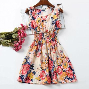 LMFOK8 Women Sexy Chiffon Dress Sleeveless Sundress Beach Floral Tank Mini Dresses